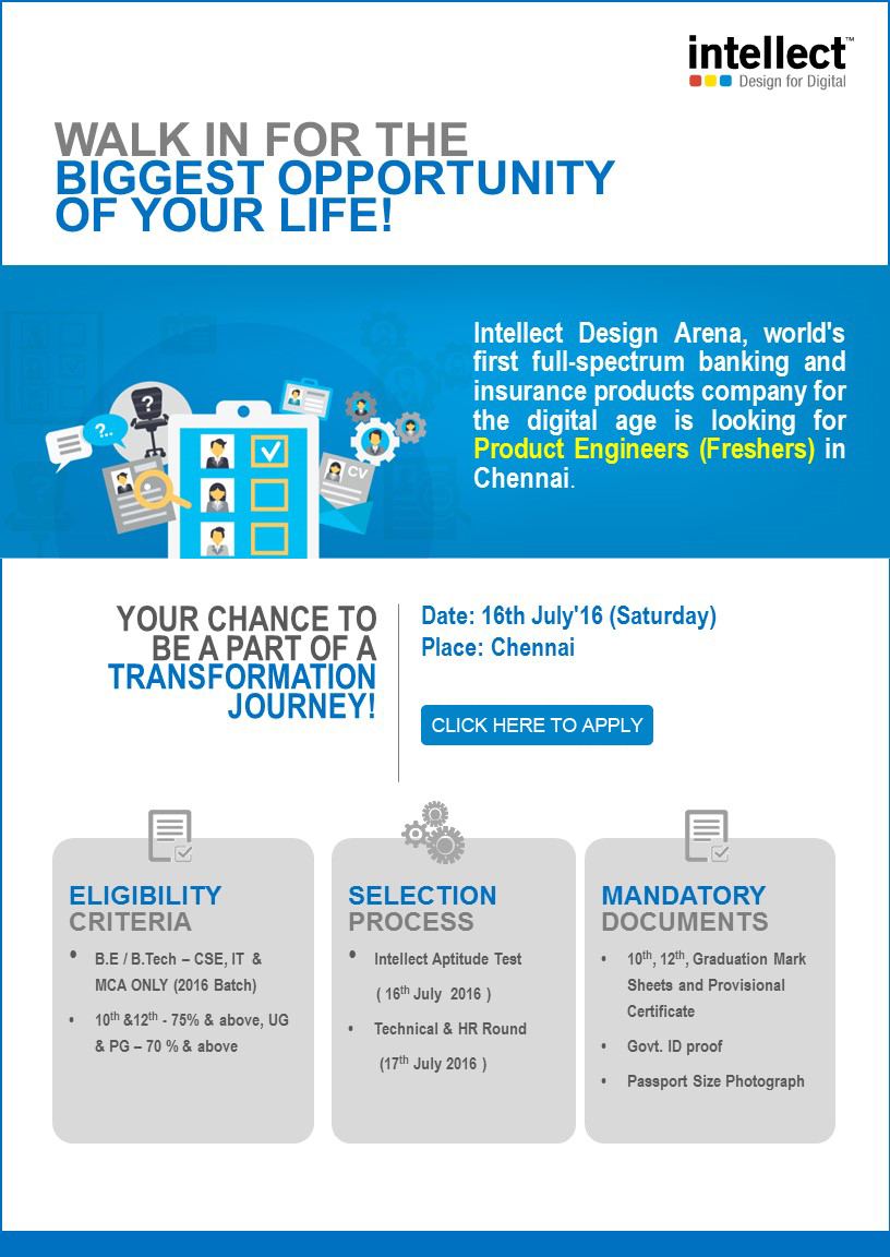 Fresher's Drive on 16th July at Chennai